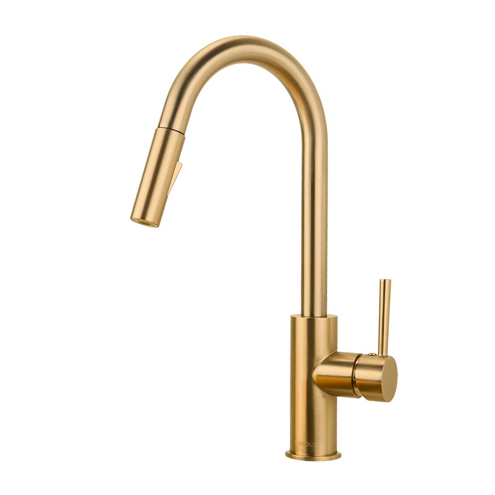 Gold Kitchen Faucet with Pull Down Sprayer, Kitchen Faucet Sink Faucet with Pull Out Sprayer, Single Hole and 3 Hole Deck Mount, Single Handle Copper Kitchen Faucets, Champagne Bronze, FORIOUS ... by FORIOUS