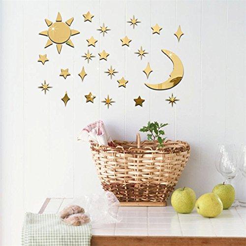 VancyTop Gold Sun Moon Stars Acrylic Mirror Effect DIY Wall Sticker Home Living Room Kids' Room Nursery Decoration - Golden Sun Mirror