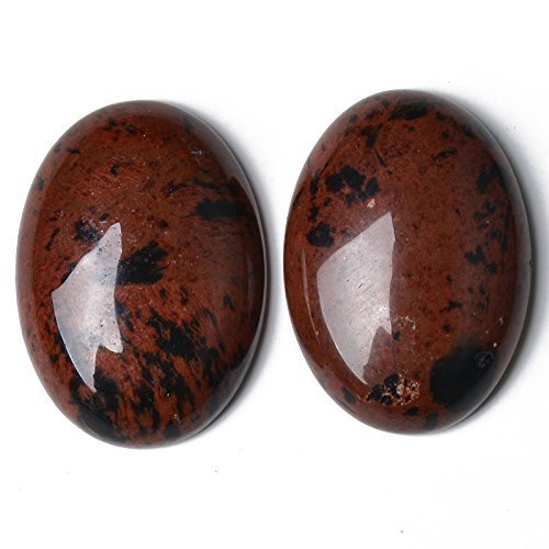 1 x Brown Mahogany Obsidian 18 x 25mm Oval-Shaped Flat-Backed Cabochon - (CA16661-6) - Charming Beads