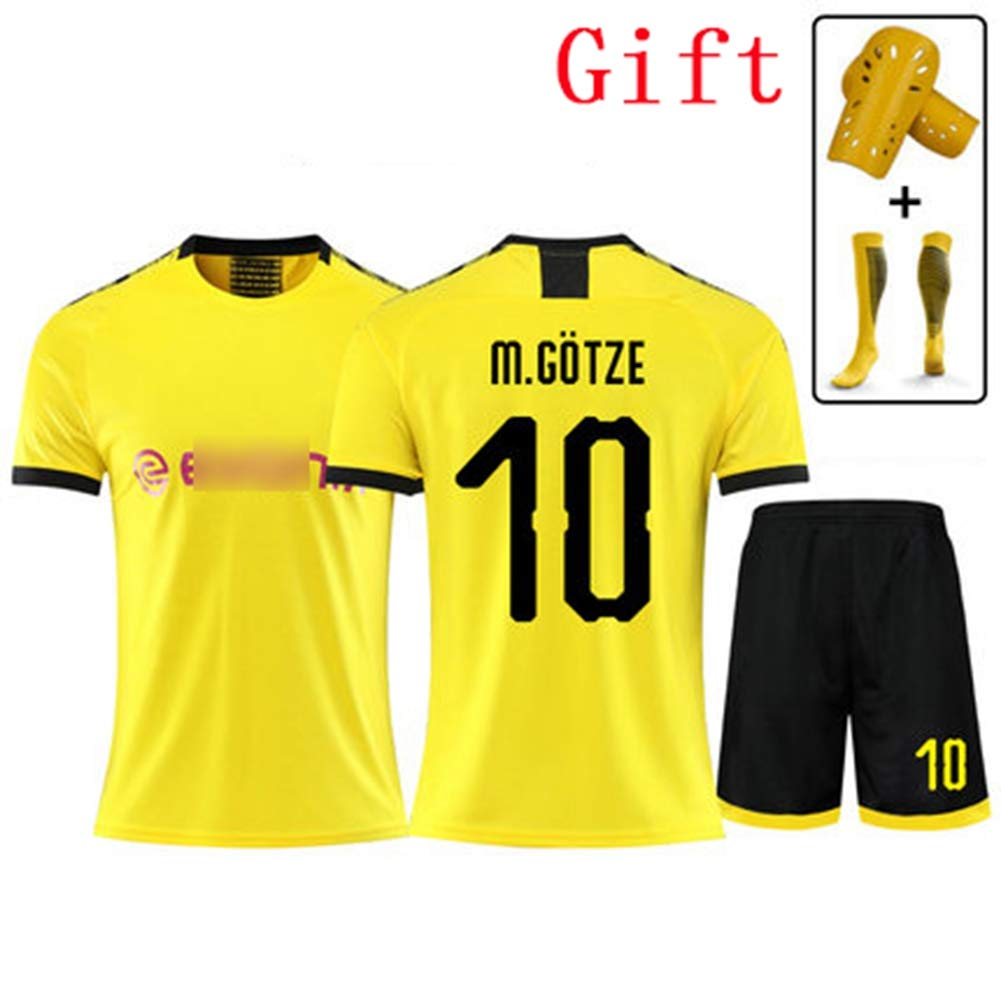 HS-JCWY01 Borussia Dortmund # 10 Mario G/ötze Fu/ßball-T-Shirt Trikot Schnelltrocknender Kurzarm-Trainingsanzug f/ür atmungsaktive Kinder,2XS145~155CM