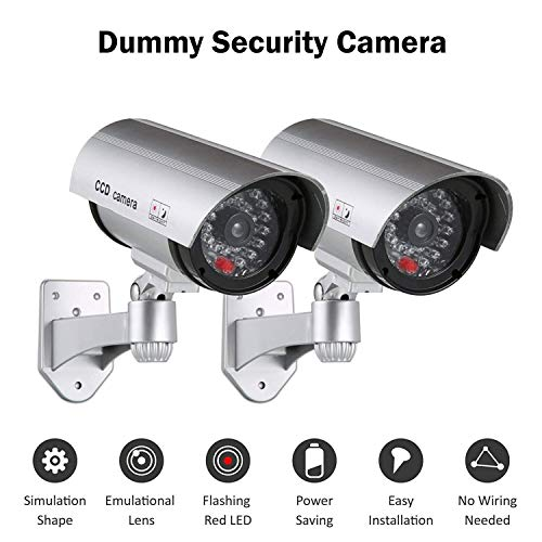 CARTSHOPPER 2 pcs Dummy Security Camera – Realistic Bullet CCD Design with Blinking LED Light, for Outdoor or Indoor Use, Ideal for Commerical Business Security or Residential– Silver (Pack of 2) Price & Reviews