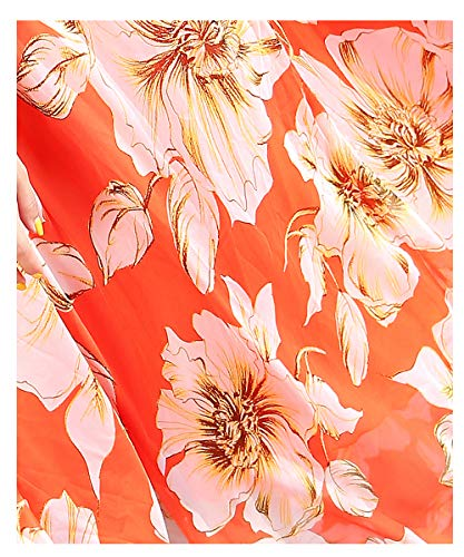 MedeShe Floral Printed Lightweight Chiffon Scarf Scarves Holiday Beach Cover Up (70cm×200cm, Orange Lily)