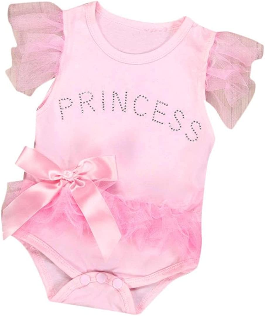 Infant Newborn Toddler Baby Girls Lace Princess Romper Babygrow Bodysuit Jumpsuit