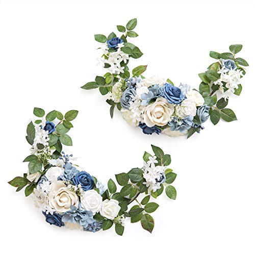 Ling's moment Charming Dusty Blue Style Artificial Rose Flower Swags and Garlands (Pack of 2) for Wedding Arch Wall Sweetheart Table and Chair Back Floral Decorations -