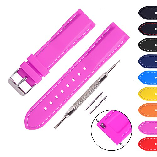 Ritche Rose Carmine 22mm Silicone Band Women Replacement Seiko Pebble LG Watch Urbane and R Strap