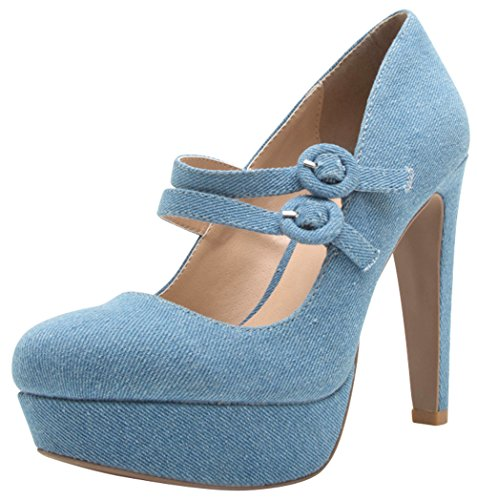 Buckled Platform Pumps - Cambridge Select Women's Closed Round Toe 2 Buckled Strap Mary Jane Chunky Platform High Heel Pump,6 B(M) US,Light Blue Denim