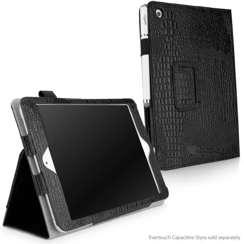 Portfolio Embossed Mini (iPad mini 1st Gen Case, BoxWave [Midnight Crocodile Folio Stand Case with Strap] Synthetic Leather Portfolio Cover w/3 Card Slots for Apple iPad mini 1st Gen, 3, Retina)