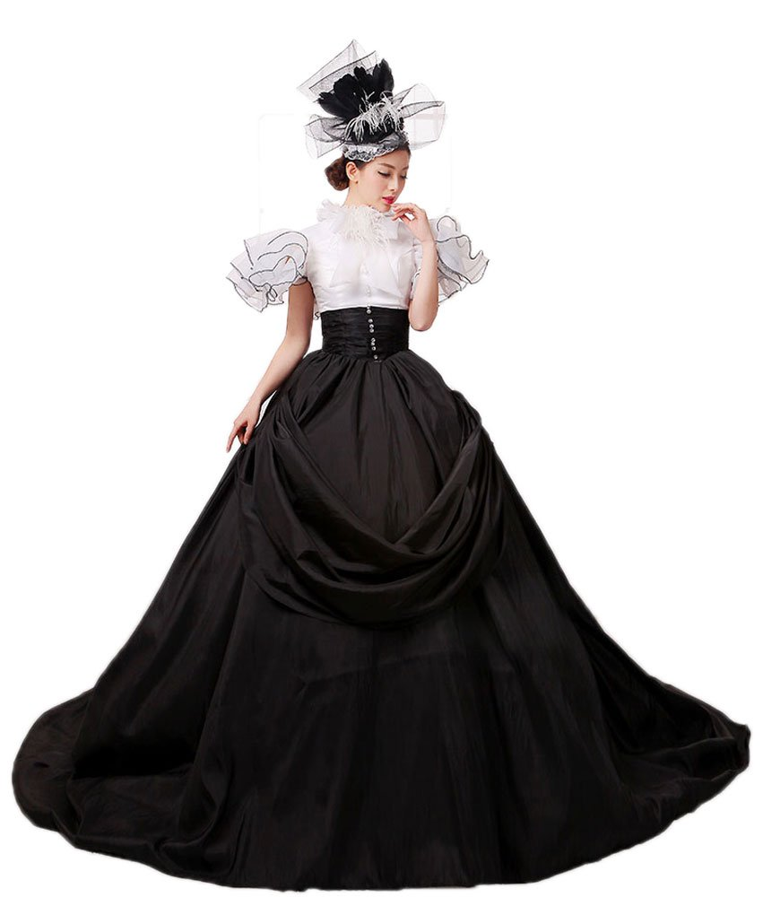 Zukzi Women's Gorgeous Victorian Train Ball Gown Wedding Dress, US 18, #Y001 Black