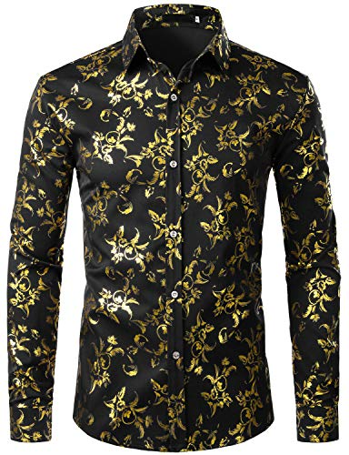 ZEROYAA Men's Luxury Golden Floral Design Slim Fit Long Sleeve Button Down Dress Shirts ZZCL34 Black X Large