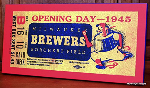 Ticket Wall Baseball Art (1945 Vintage Milwaukee Brewers Opening Day Ticket - Canvas Gallery Wrap - 20 x 10)