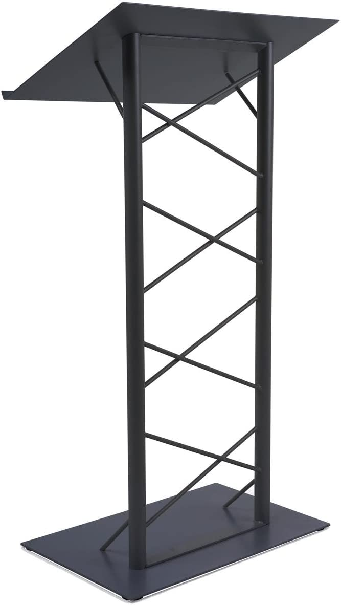 47-inch Truss Lectern with 7 8-Inch Lip, Free-Standing Podium with Lattice-Style Design, Steel – Black