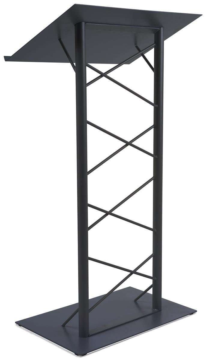 47-inch Truss Lectern with 7/8-Inch Lip, Free-Standing Podium with Lattice-Style Design, Steel - Black by Displays2go