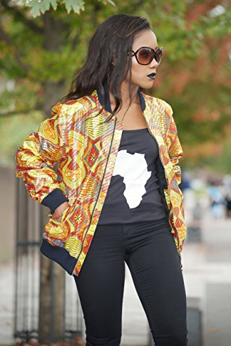 Bomber jacket / African print bomber jacket/ ankara print bomber jacket - Metallic orange by Gitas Portal