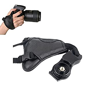 Seninhi Genuine Leather Combo Wrist & Grip Strap for DSLR Cameras SLR Camera Padded Wrist Strap Prevents droppage and stabilizes video