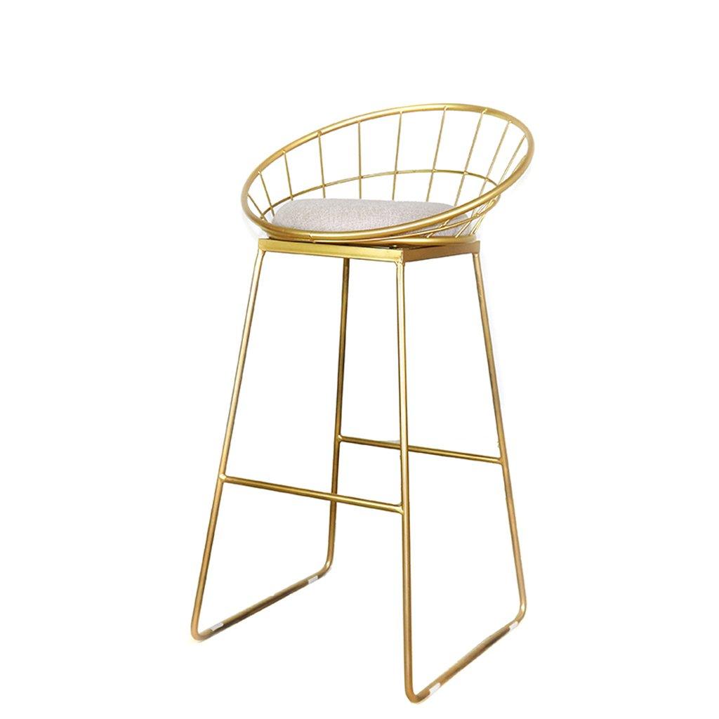 バーチェア、アイロンバーチェア、レジャースツール、キッチン朝食椅子、65cm、75cm、ゴールド ( Size : 75cm ) B07CNVW8DP75cm