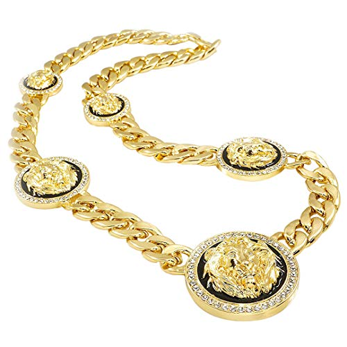 Niv's Bling 14k Yellow Gold-Plated Iced Out Five Headed Lion Pendant 15mm Cuban Link Necklace Chain