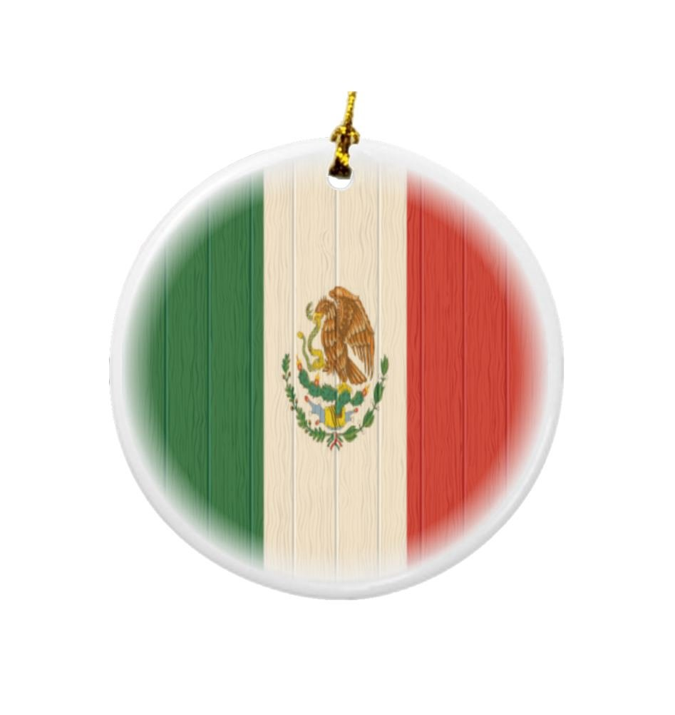 Rikki Knight Mexico Flag on Distressed Wood Design Round Porcelain Two-Sided Christmas Ornaments