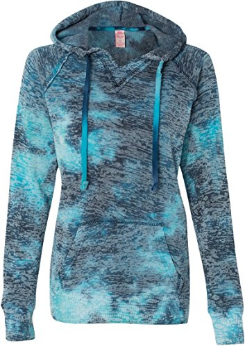 Weatherproof Ladies Burnout Hooded Pullover Fleece Burnout Hoodies Colorful Hoodies X-Large Bahama Blueaa ()