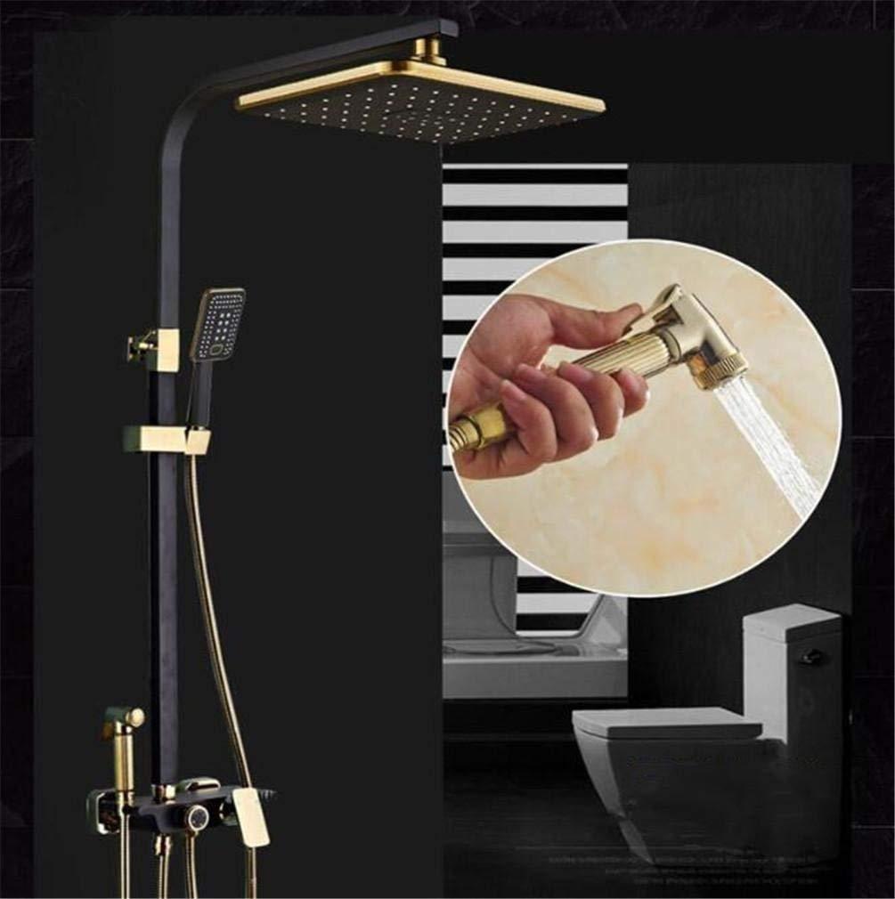 Eeayyygch Schwarz Weiß Dusche Set Kupfer Dusche Wasserhahn Spray Düse Booster Lift Halterung (Farbe   -, Größe   -)