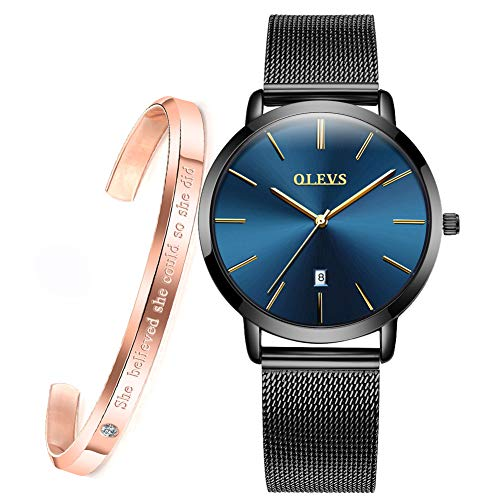 Minimalist Ultra Thin Large Dial Wrist Watches for Women and Bracelet Gift Set Rose Gold OLEVS Ladies Casual Slim Blue Big Face Dress Date Analog Quartz Watch Waterproof with Black Female Mesh Band