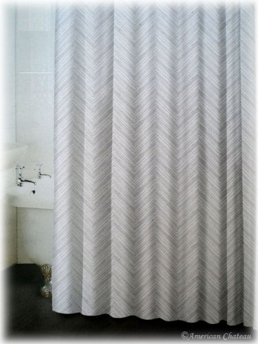 Pearl White & Light Grey Chevron Zing Zag Stripes Bathroom Bath ...