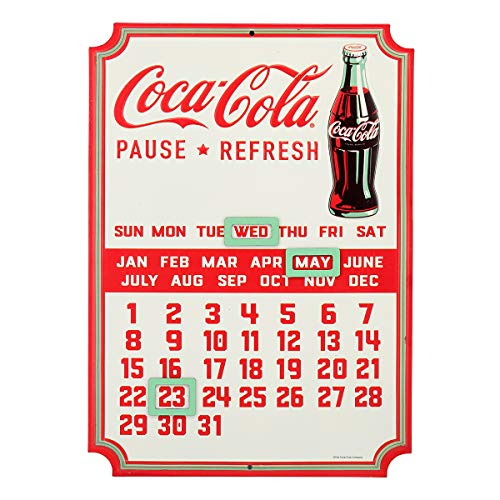 Open Road Brands - Vintage Retro Metal Tin Signs - Embossed Coca-Cola Calendar Sign - for Diner Art, Man Caves, and Home Decor