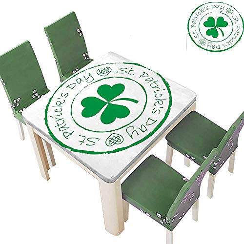 Spring & Summer Outdoor Tablecloth, Day Stamp Like Design Greetings for Party March 17 Lucky Shamrock Print Multicolor 50 x 50 Inch (Elastic Edge)