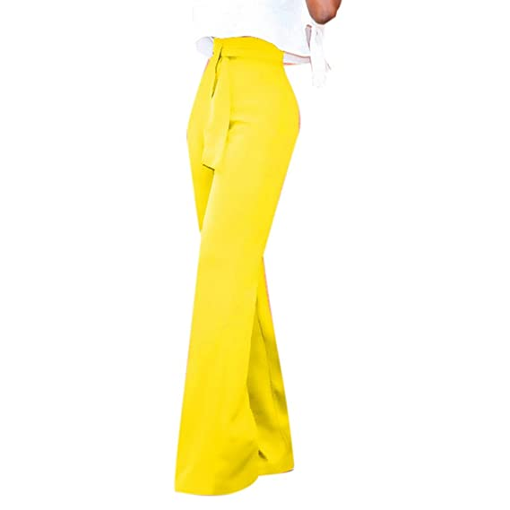 Longue Uni Haute Jambe Laamei Femme Couleur Taille Large Pantalon a7ZFcvxwRq