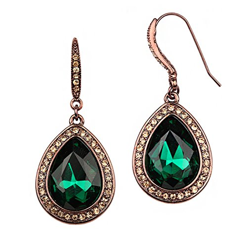 Rosemarie Collections Women s Teardrop Crystal Rhinestone Statement Drop Earrings