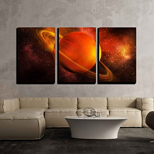 The Planet Saturn in Space x3 Panels