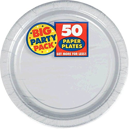 Amscan Silver Paper Plate Big Party Pack, 50 Ct.