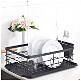 POPILION Superior Quality Kitchen Sink Side Antimicrobial Draining Dish Drying Rack,Dish Rack With Black Drainboard