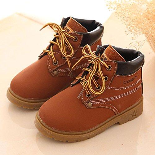 Koly Sin Adición de algodón, Bebé Niño del ejército del estilo Martin botas, zapatos calientes del invierno (21, Amarillo) marrón