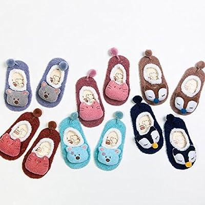 5cinq Chaussettes pour bébé Dessin animé poupée enfants 's Sol antidérapant Chaussettes bébé Chaussettes S (Marron clair) L marron clair