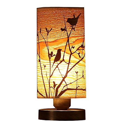 - Bieye L10272 Birds on The Branch 9 inch Wooden Table Lamp with Bronze Metal Base, Night Light (Bronze)