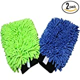 (2-Pack) THE RAG COMPANY Premium Soft Microfiber Chenille Knobby SCRATCH-FREE, LINT-FREE Wash Mitts, One Royal Blue and One Lime Green