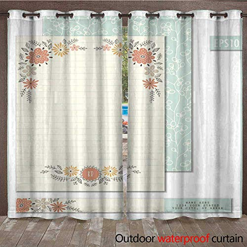 (RenteriaDecor Home Patio Outdoor Curtain Flowers Personalized Stationery W72 x L84)
