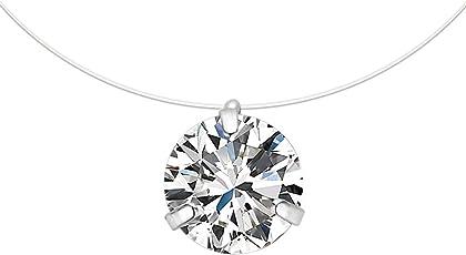 CARSINEL Collar Colgante Solitario Cristales Cubic Zirconia Línea de Pesca Gargantilla Invisible para Mujeres/Niñas, 1 Par, Plata