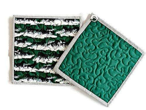 Vintage Cars// Motorcycles Handmade Quilted Cotton Pot Holders//Hot Pads Set of 2