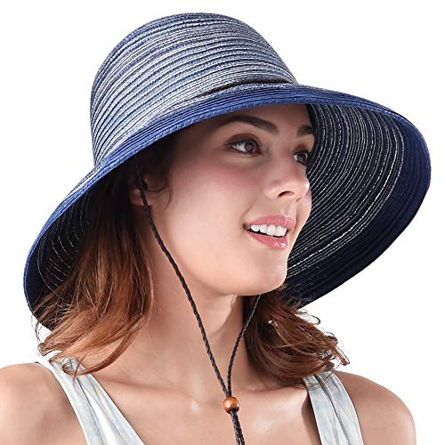 Wide Brim Floppy Sun Hat 100% Cotton Packable Summer Beach Hats for Women (SH052 Dark Blue, M (Head Circum 22.1