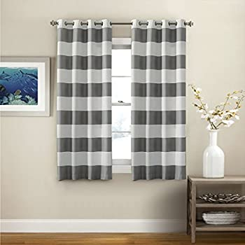 turquoize nautical blackout curtains2 panels room darkning grommet top light blocking curtains 52w by 63l inch wave stripes pattern dove gray