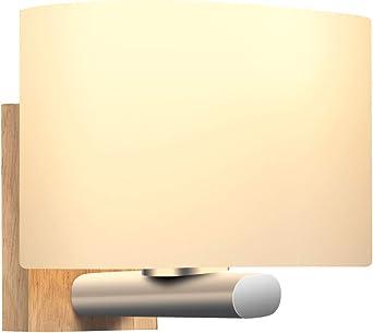 Apliques Pared Interior, Awebb Luz Aplique Baño LED Moderno Madera para Escalera, Pasillo, Salón (Incluye una bombilla LED E27): Amazon.es: Iluminación