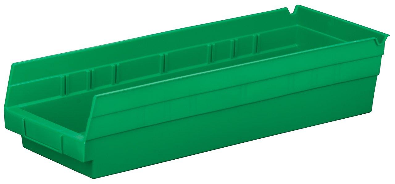 Akro-Mils 30138 18-Inch by 6-Inch by 4-Inch Plastic Nesting Shelf Bin Box, Green, Case of 12