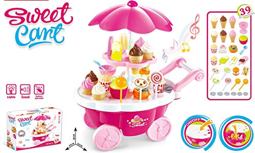 Vivir Sweet Cart Icecream Set Pretend Play Toy for Kids 39 Pieces (Big Size)
