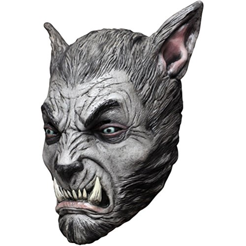 Beast Silver Wolf Latex Mask (Beast Silver Wolf Adult Latex Mask Werewolf Wolfman Fangs Halloween Accessory)