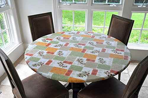 Elastic Edged Flannel Backed Vinyl Fitted Table Cover - OLIVE PATCH Pattern - Small Round - Fits tables up to 44