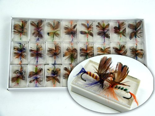 Vigrand 48 Pcs Butterfly Fly Fishing Trout Salmon Flies Fly Tackle Set