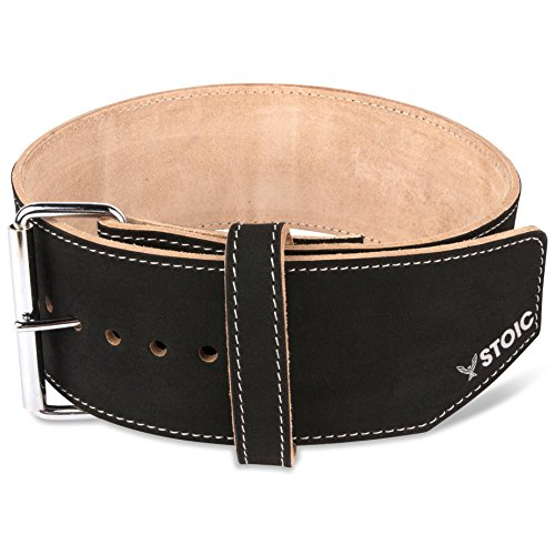 Stoic Weight Lifting Belt Maximum Support & Protection Lifting Belt For Weightlifting Snatch, Clean & Jerk, Deadlift, Squat by Weight Belt For Men & Women 4 Inch Wide (Large, 6MM Thick Single Prong)
