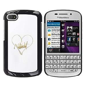 FECELL CITY // Duro Aluminio Pegatina PC Caso decorativo Funda Carcasa de Protección para BlackBerry Q10 // Gold Heart Text White Love Autograph