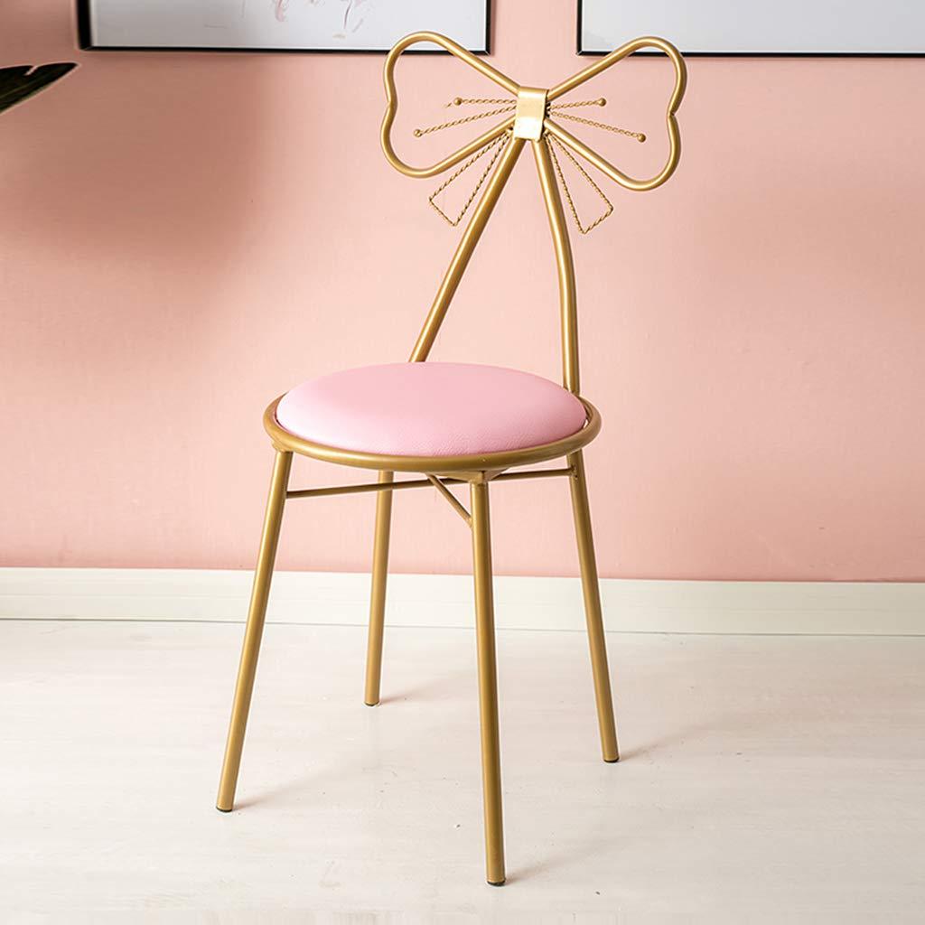 JHSLXD sminkbord makeup-stol, kreativ fjäril slips dekoration ryggstöd stol PU läder klädpall sovrum vardagsrum stol lässtol smidesjärn matrumsstol, rosa rosa